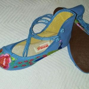 YANRANZHUANPAN Embroiderd flowered Shoes